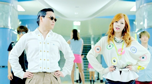 "Screen grab of Psy and Hyun-a in his ""Gangnam Style"" music video."