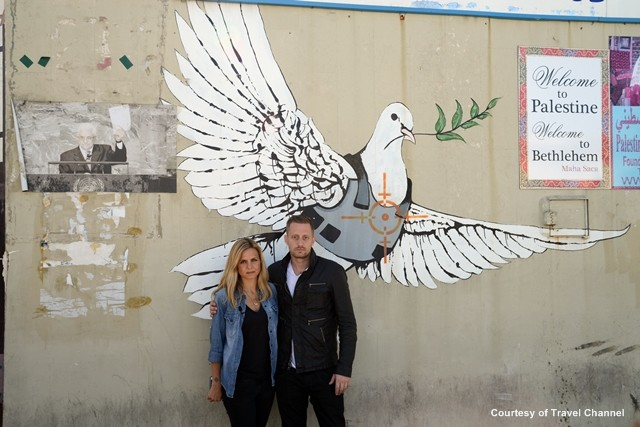 Breaking Borders Mariana van Zeller and Michael Voltaggio  artist Banksy on the Israeli West Bank barrier_Courtesy of Travel Channel