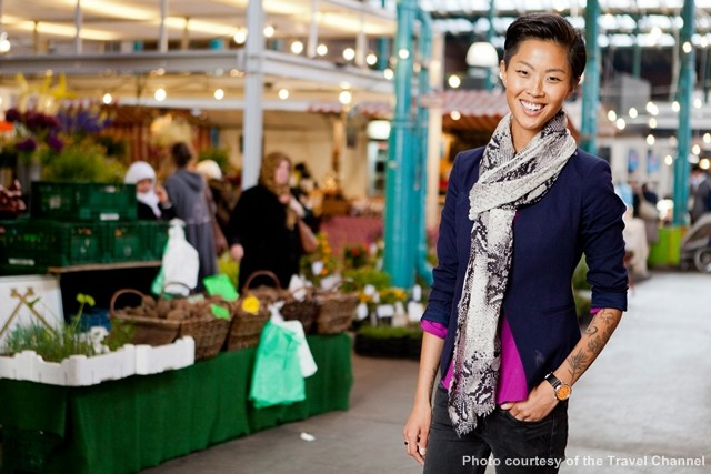 Portrait of host Kristen Kish at Markthalle Neun in Berlin. It's a market place that sells local, seasonal and sustainably grown foods. As seen on Travel Channel's 36 Hours in Berlin.